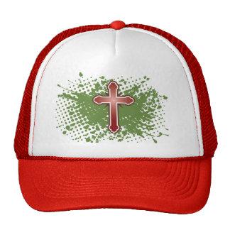 Cross soft knob red splash bg mesh hats
