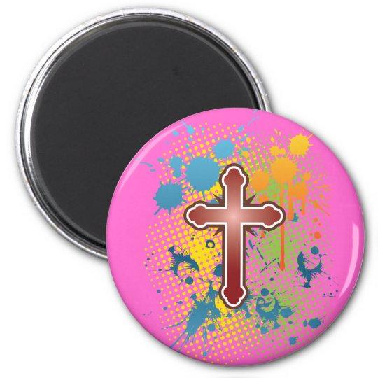 Cross soft knob red splash bg magnet