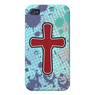 Cross soft red plain splash bg cases for iPhone 4