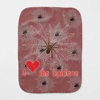 Cross spider in the net baby burp cloth