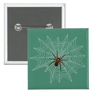 Cross spider in the net 2 inch square button