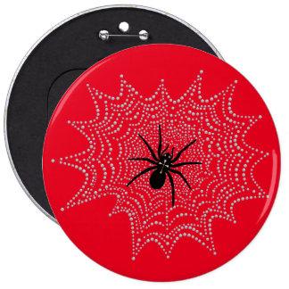 Cross spider in the net 6 inch round button