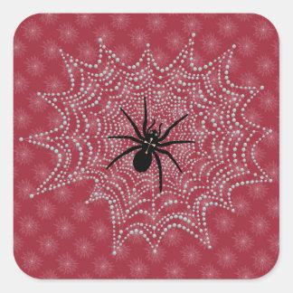 Cross spider in the net square sticker
