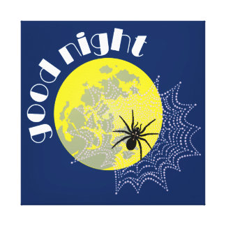 Cross spider in the net with full moon canvas