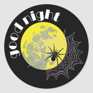 Cross spider in the net with full moon classic round sticker