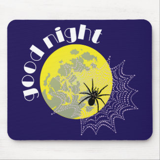 Cross spider in the net with full moon mouse pad
