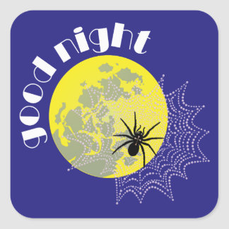 Cross spider in the net with full moon square sticker