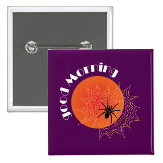 Cross spider in the net with sunrise 2 inch square button