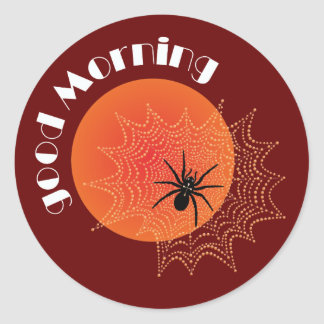 Cross spider in the net with sunrise classic round sticker