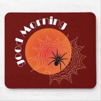 Cross spider in the net with sunrise mouse pad