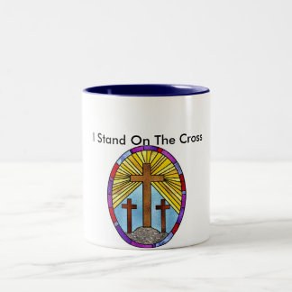 cross stained glass circle, I Stand On The Cross Coffee Mugs