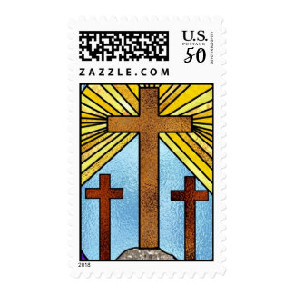 cross stained glass circle postage