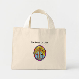 cross stained glass circle, The Love Of God Mini Tote Bag