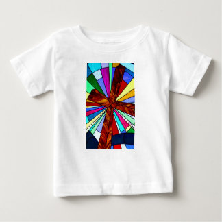 Cross stained glass detail photograph church baby T-Shirt