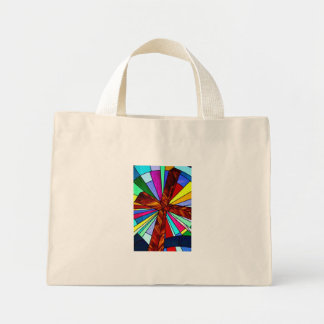 Cross stained glass detail photograph church mini tote bag