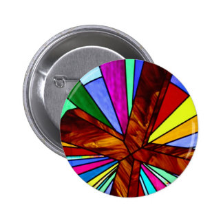 Cross stained glass detail photograph church 2 inch round button