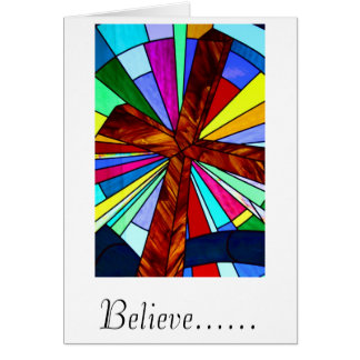 Cross stained glass detail photograph church greeting card