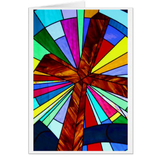 Cross stained glass detail photograph church stationery note card