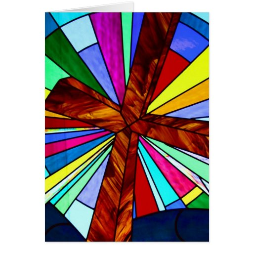 Cross stained glass detail photograph church cards