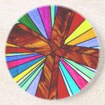 Cross stained glass detail photograph church beverage coasters