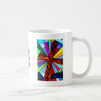 Cross stained glass detail photograph church coffee mug