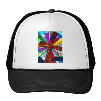 Cross stained glass detail photograph church trucker hat