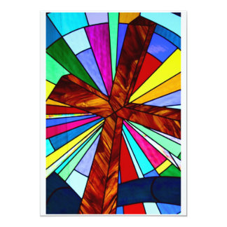 Cross stained glass detail photograph church 5x7 paper invitation card