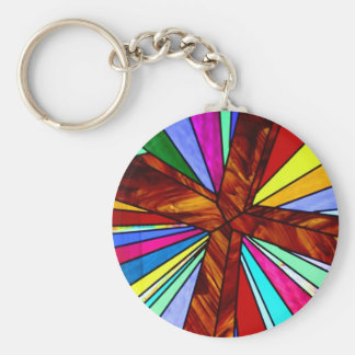 Cross stained glass detail photograph church basic round button keychain