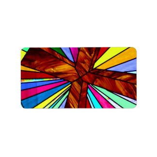 Cross stained glass detail photograph church address label