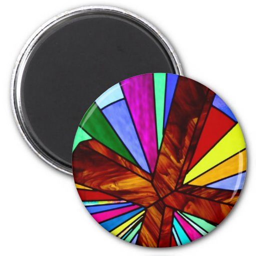 Cross stained glass detail photograph church refrigerator magnet