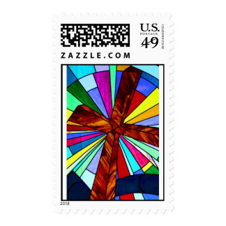 Cross stained glass detail photograph church postage stamps