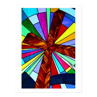 Cross stained glass detail photograph church postcards