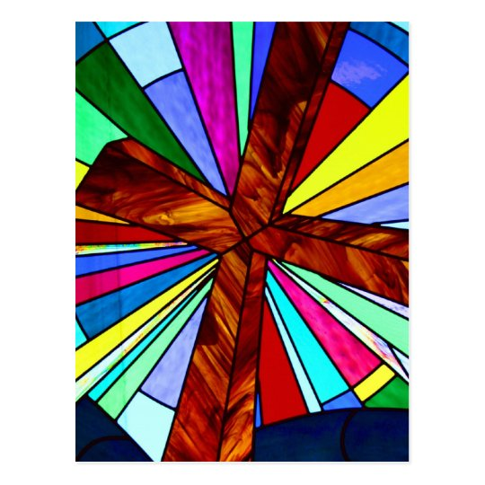 Cross stained glass detail photograph church postcard