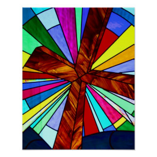 Cross stained glass detail photograph church poster