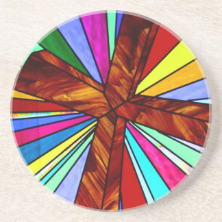 Cross stained glass detail photograph church sandstone coaster