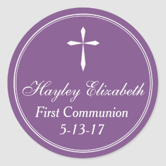 Cross Sticker, Favor Tag Envelope Seal, Purple