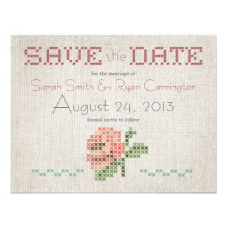 Cross-stitch Antique Wedding Save the Date Card