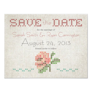 "Cross-stitch Antique Wedding Save the Date Card 4.25"" X 5.5"" Invitation Card"