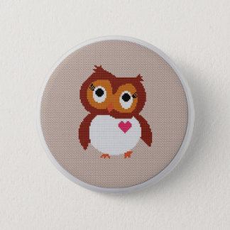 Cross stitch badge with owl button