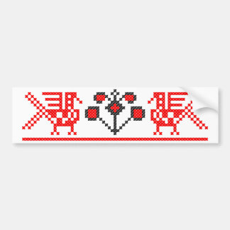 Cross-stitch birds bumper sticker
