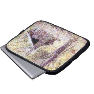Cross-stitch cabin design laptop computer sleeve