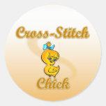 Cross-Stitch Chick Round Stickers