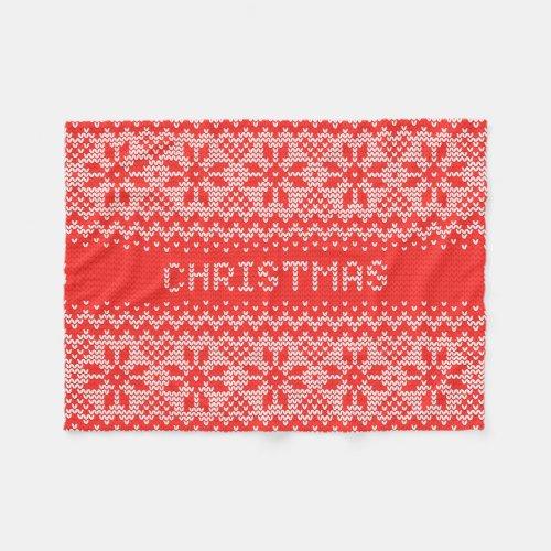 Cross Stitch Christmas Red ID208 Fleece Blanket