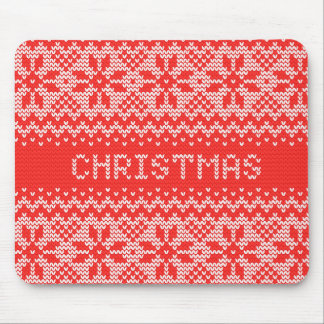 Cross Stitch Christmas Red ID208 Mouse Pad