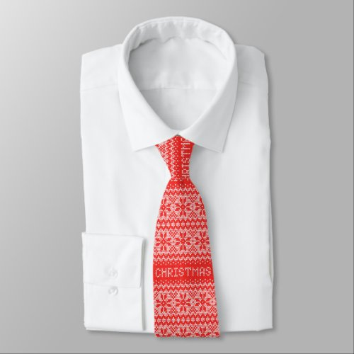 Cross Stitch Christmas Red ID208 Tie