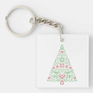 Cross stitch Christmas Tree Holiday Key Chain
