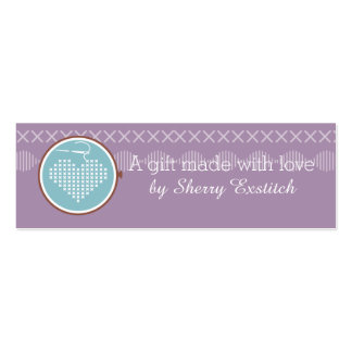 Cross stitch embroidery hoop heart needle thread Double-Sided mini business cards (Pack of 20)