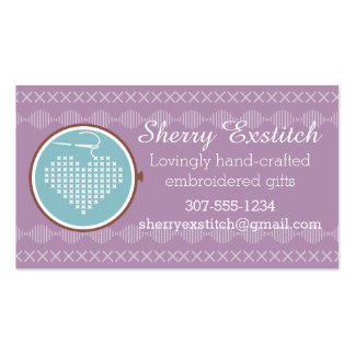 Cross stitch embroidery hoop heart needle thread Double-Sided standard business cards (Pack of 100)