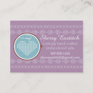 Embroidered business cards templates zazzle cross stitch embroidery hoop heart needle thread business card colourmoves