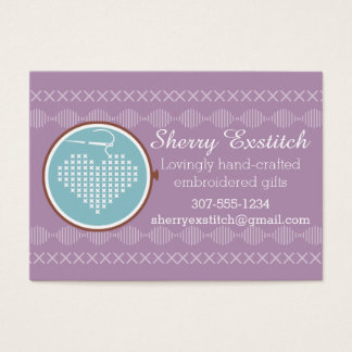 Cross stitch embroidery hoop heart needle thread business card